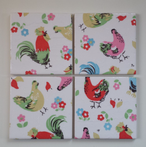 4 Ceramic Coasters in Cath Kidston Chickens Hens